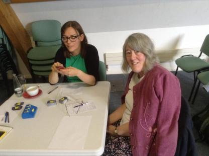 King's Lynn 2015: Lauren and Phyl take a breather from the gameplay.