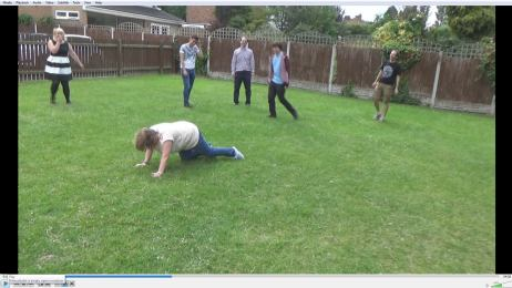 Nottingham 2015: Tracey falls over during a heated lunchtime game of football.