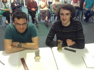 King's Lynn 2015: Finalists Graeme and Rob show off their trophies.