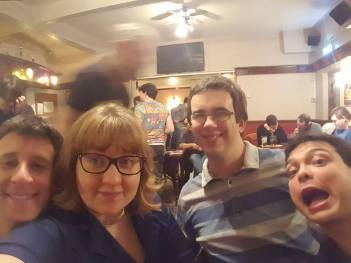 Lincoln 2017: The winning team from the unofficial COLIN quiz - Tim, Jen, Tom and Graeme.