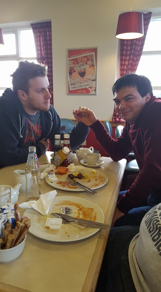 Lincoln 2016: Mark and Graeme get bromantic at the local Little Chef before the Countdowning starts.