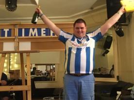 Milton Keynes 2016: Champion James celebrates his win.