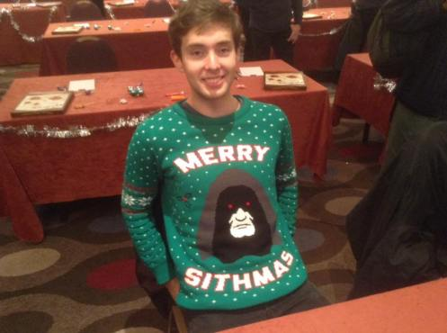 Birmingham 2016: FOCAL 2016 runner-up and style champion Giles shows off his Christmas jumper.