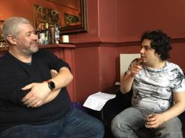 Manchester 2017: Mark and Zarte chatting.