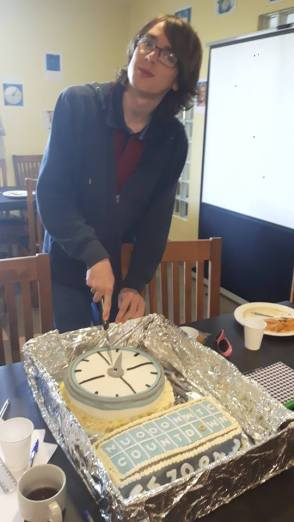 Waterford 2017 - Champ Tom with Carol Sinnott's very impressive Countdown clock cake!