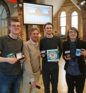 L to R: Runner-up Bradley Horrocks; host Mike Brown; winner Rob Foster; 3rd place Tom Carey, also a Cantabrian student.