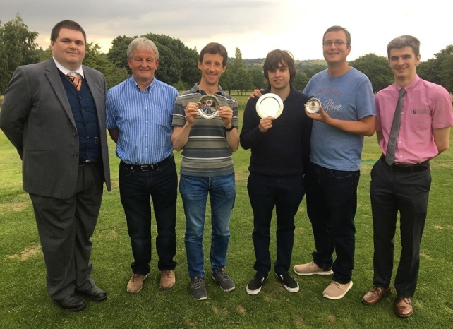 L to R: James Robinson, co-host; Philip Garbe, Men's Captain at Lightcliffe Golf Club; Tim Down, runner-up; Jack Worsley, champion; Kirk Bevins, 3rd place; Callum Todd, co-host.
