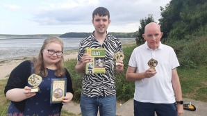 The Waterford podium -- 2nd place Hazel Drury, winner Eddy Byrne, 3rd place Gerry Tynan.
