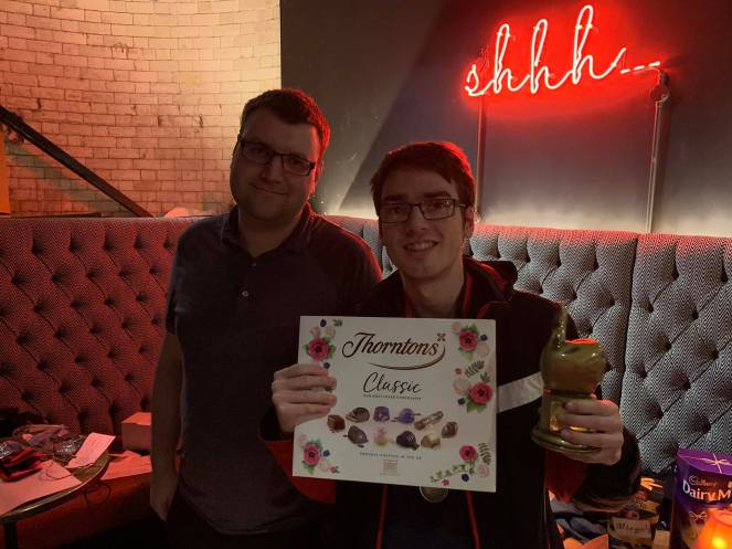 Manchester 2020: Host Innis with Champion Tom